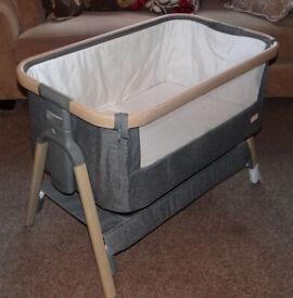 Tutti Bambini CoZee Bedside Crib Oak & Charcoal, used once