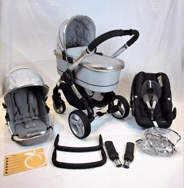 Stunning Icandy Peach 2 SILVER MINT Incl Maxi Cosi Pebble car seat. *FULL TRAVEL SYSTEM* !!!
