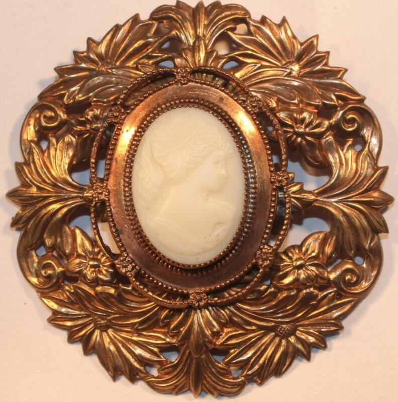 Vintage Early 20th Century Repousse Cameo Brooch Pin Art Nouveau