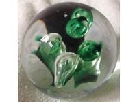 Langham Glass green air bubbles Paperweight