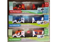 Bundle of 3 New Toy Cars, Ambulance, Police, Fire Engine