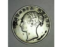 British India Antique Coin 180 Years old Queen Victoria INR 1 Pure Silver