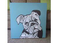 BHS Teal Blue Newspaper Bulldog 60cm x 60cm Canvas