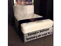 BRAND NEW CRUSHED VELVET KINGSIZE,DOUBLE & SINGLE BEDS COMPLETE WITH MATTRESS CAN DELIVER