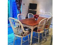TABLE & CHAIRS - SIX CHAIRS TWO WITH ARMS - SOLID WOOD - LAURA ASHLEY