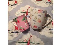 Cath kidston discontinued floral mug & strawberry pink Queens floral. Cup. churchill fine china