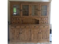 Waterford re-claimed solid pine glazed dresser wall unit
