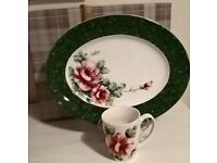 "Hand Painted China ""One Of"" Green Rose Design Mug and Plate Set with Gift Box"