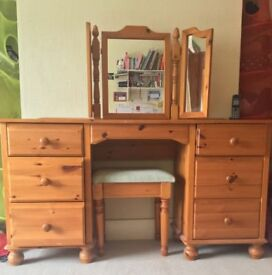 Pine dressing table mirror stool set 2 bedside table chests bedroom furniture