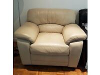 One seater cream leather sofa - good condition