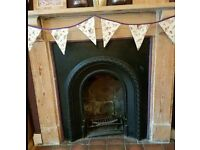 Cast iron fireplace and mantlepiece