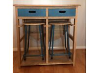John Lewis Wooden Kitchen Breakfast Bar/Opens To A Larger Table & 2 stool's & Draws Very Trendy new