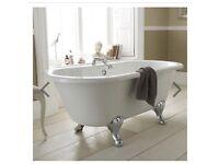 Premier Grosvenor 1500 Small Double Ended Roll Top Bath Inc. Chrome Legs