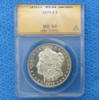 - 1879 S ANACS MS64 Obverse DMPL Silver Morgan $1, Deep Mirror Proof Like Dollar