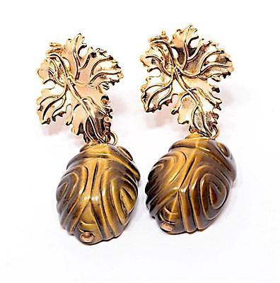 Gold Leaf Sterling Clip Earrings with Tigers Eye Beetle Dangle-Barneys Pouch-NEW Clip Tigers Eye Earrings