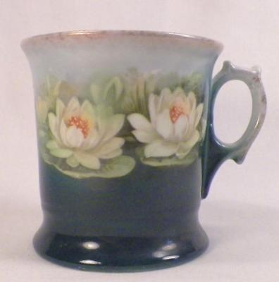 Antique Shaving Mug Water Lillies Lily Flowers Porcelain Victorian Teal #14