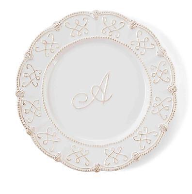 Mud Pie Knot Beau Fleur de Lis White Monogram Initial Dessert Plates Set 4221004 ()