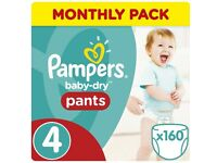 Pampers baby dry size 4 nappy pants (160)