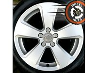 """17"""" Genuine Audi A3 Sport alloys Golf Caddy Leon excel cond Pirelli tyres"""