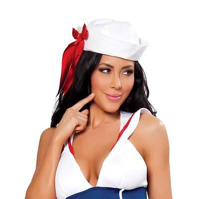 White Sailor Hat (White Sailor Hat with Red Ribbon Cap Navy Boat Ship Mate Costume Roma)