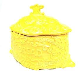 Yellow Vintage Old Ceramic Porcelain Pottery Breadbin