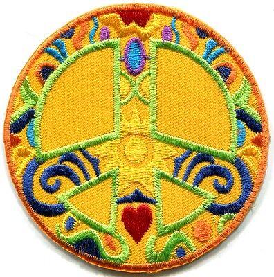 Peace sign hippie boho retro sixties flower power applique iron-on patch G-37 (Sixties Flower Power)