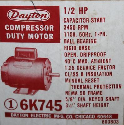 Dayton Compressor Motor 6k745 12 Hp 3450 Rpm 115 Volt Rep Marathon 3k781 Tn-125