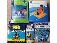 Baby Swim Accessories Bundle: Baby Water Seat, Baby Swim Seat, Floaties Aqua Nappies