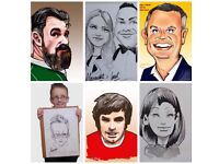Caricaturist for hire, Belfast. Weddings, birthdays, festive and corporate events.