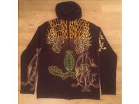 Brand new and authentic men's Christian Audigier brown knitted cashmere / wool hoodie
