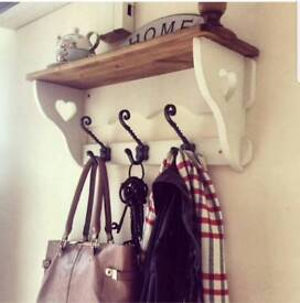 Beautiful farmhouse rustic shabby chic painted coat hook shelf