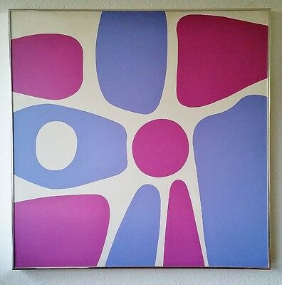 Mid Century Modern Abstract Oil Painting Clifton Signed Original Eames Large