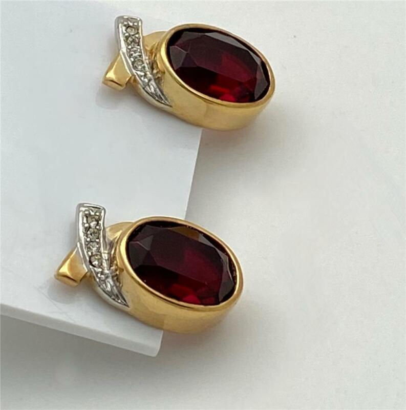 Vintage Gold T. Faceted Red Oval Glass Stone & Crystal Accents Post Earrings