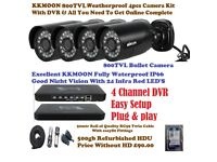 4 Chanel DVR With 500gb Hard Drive 4 1500tvl Bullet Cameras all Cables and all Fittings