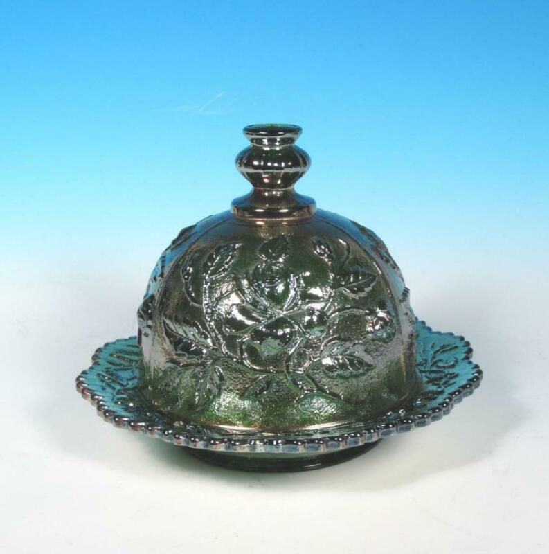 Imperial Lustre Open Rose Helios Green Vintage 1960s Carnival Glass Butter Dish