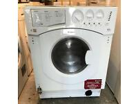 HOTPOINT BHWD129 WHITE INTEGRATOR WASHER & DRYER 3 MONTH WARRANTY, FREE INSTALLATION