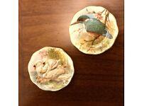 MINI vintage decorative plates bird and swan deisng, fine bone china