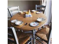 Rustic shabby chic solid wood drop leaf table & four chairs, painted in Farrow & Ball Eggshell