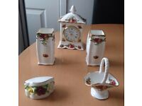 Royal Doulton clock, 2 small vases, small posy and basket