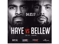 2 boxing tickets for the Haye -v- Bellew fight, Block 420, row F.