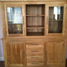 Solid Oak Modern Sideboard Display Cabinet In New Condition