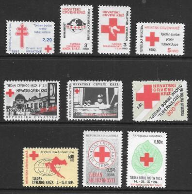 CROATIA - 10 x Obligatory Tax Singles (Red Cross etc) MNH - 1991-1994 Period
