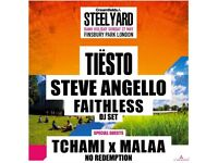 2 x TIESTO CREAMFIELDS STEEL YARD FINSBURY PARK SUNDAY 27TH MAY + AFTERPARTY @ O2 ACADEMY