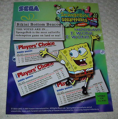 SpongeBob SquarePants Arcade Game Promo Sales Flyer 2005 Sega Promo Artwork