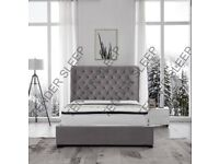 CHEAPEST OFFER - -NEW BUTTERFLY OTTOMAN STORAGE BED AVAILABLE IN GREY FABRIC MATTRESS OPTIONS