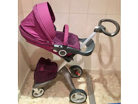 Stokke Xplory Pushchair Pram Purple with Extras