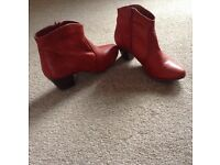 RED SOFT LEATHER ANKLE BOOTS SIZE 5. ONLY WORN ONCE