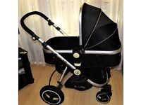 ISAFE PRAM , CONVERTS TO PUSHCHAIR ,NO BUMPER BAR OR APRON ,BLACK GOOD CONDITION,