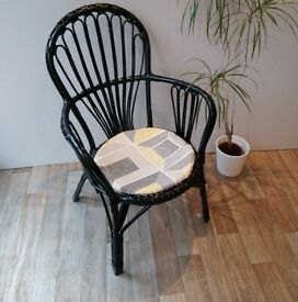 Vintage Cane Wicker Chair with seat pad - black & yellow
