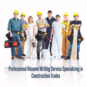 Professional Résumé Writer Specializing in Construction Trades